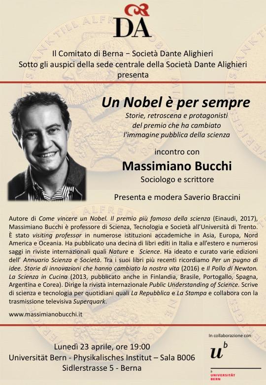 volantino della conferenza di Massimo Bucchi (foto)