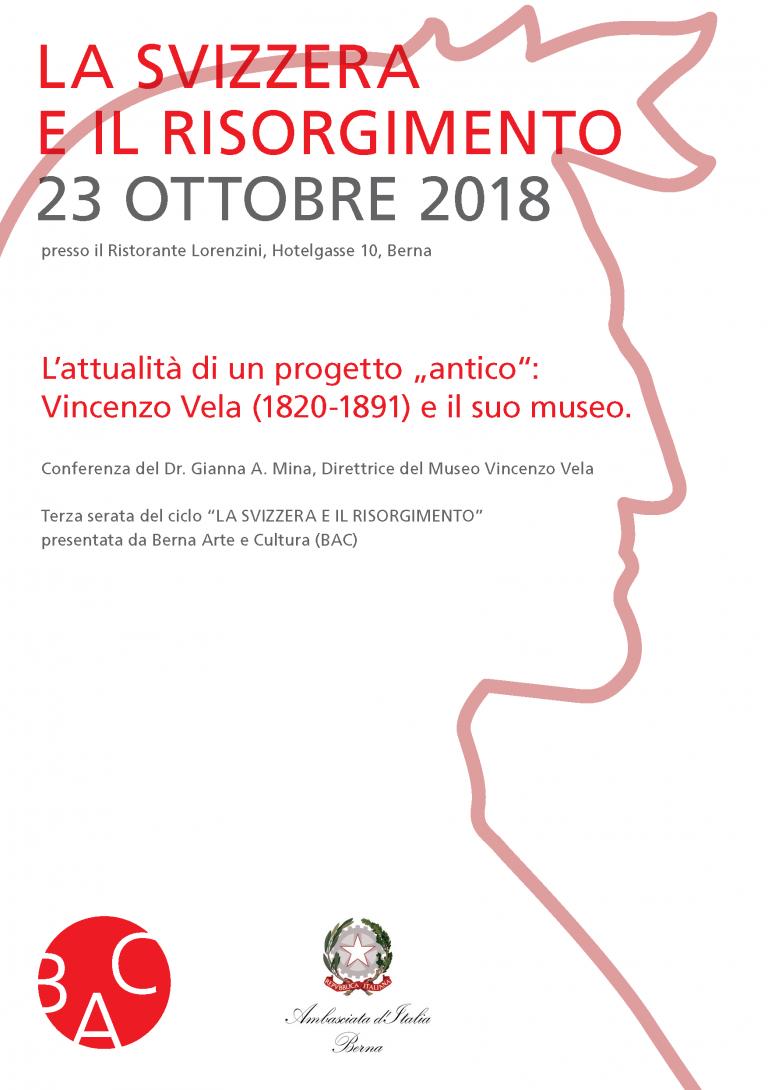 """Volantino della conferenza """"Vincenzo Vela e il suo museo"""""""
