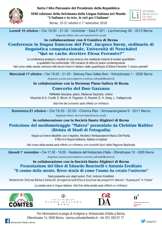 """Volantino della manifestazione """"Settimana della lingua italiana nel mondo 2018"""""""