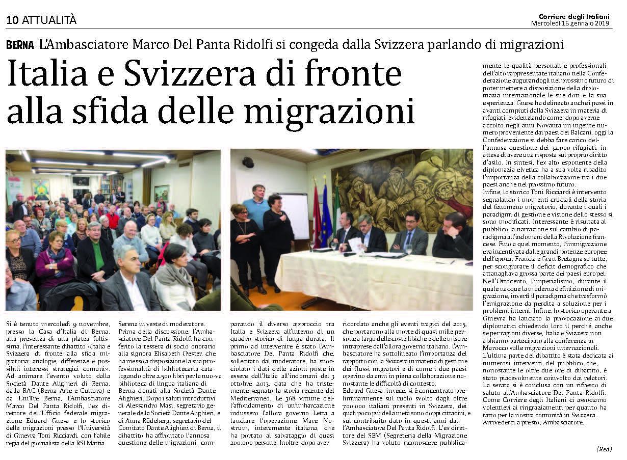 Articolo del CdI riguardo alla conferenza sulla migrazione (foto)
