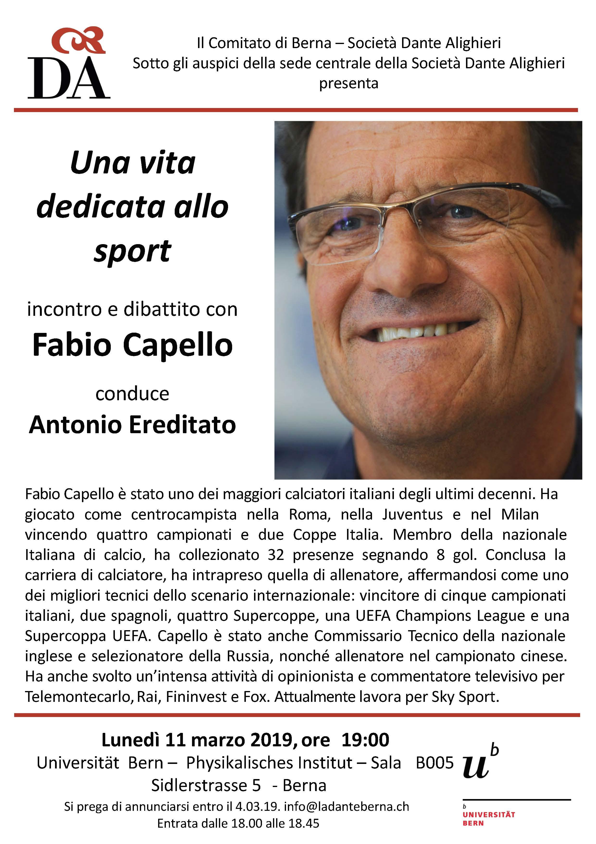 volantino incontro Fabio Capello