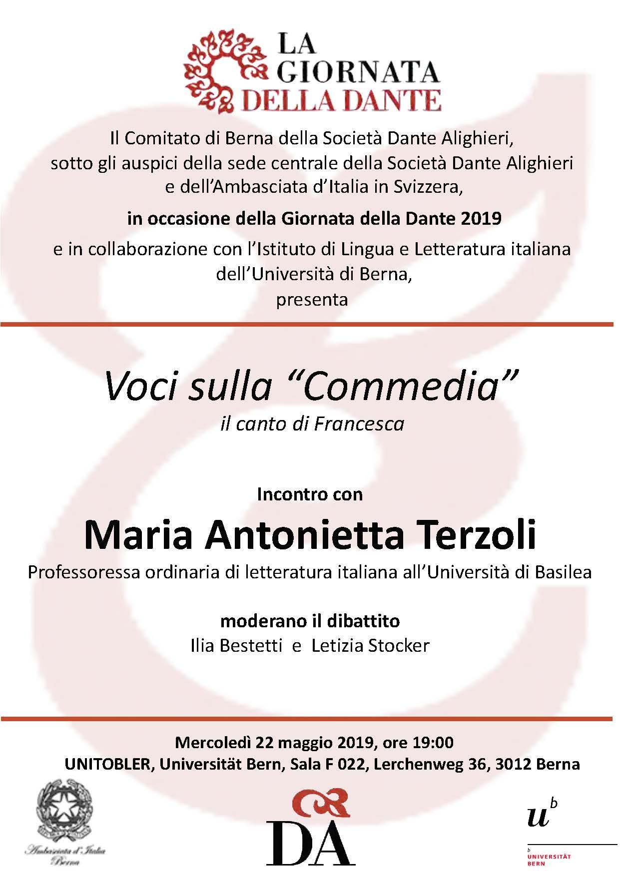 foto: volantino dell'incontro con Maria Antonietta Terzoli