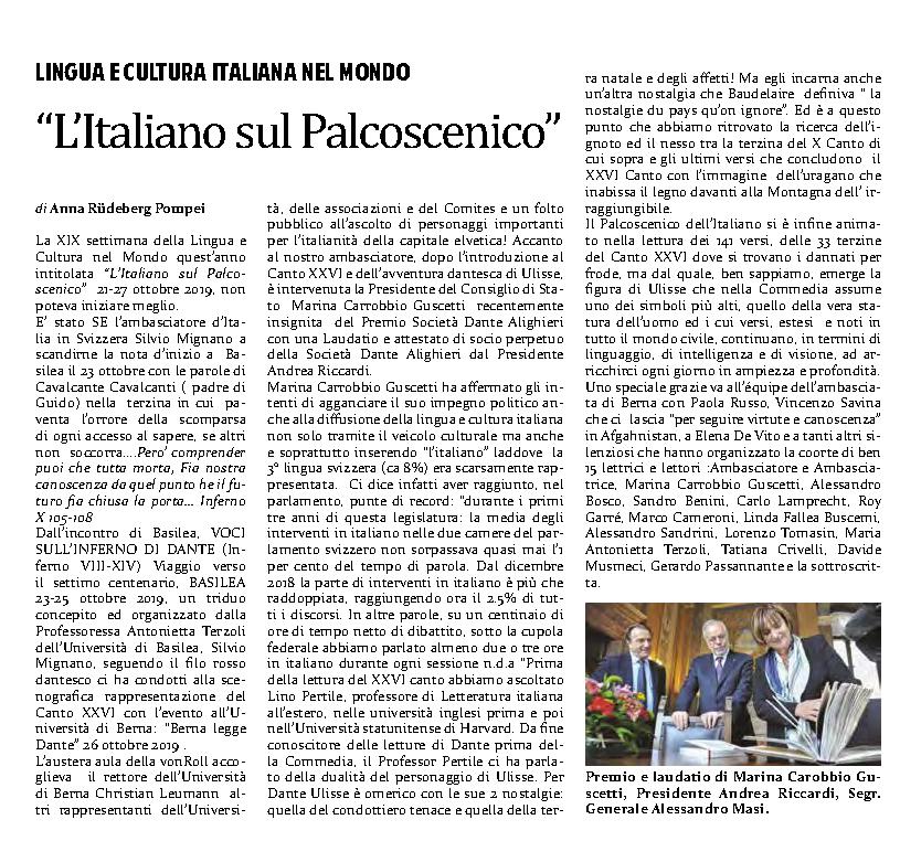"""Foto: Articolo: """"L'italiano sul palcoscenico""""- 31.10.19 (+ link al pdf)"""