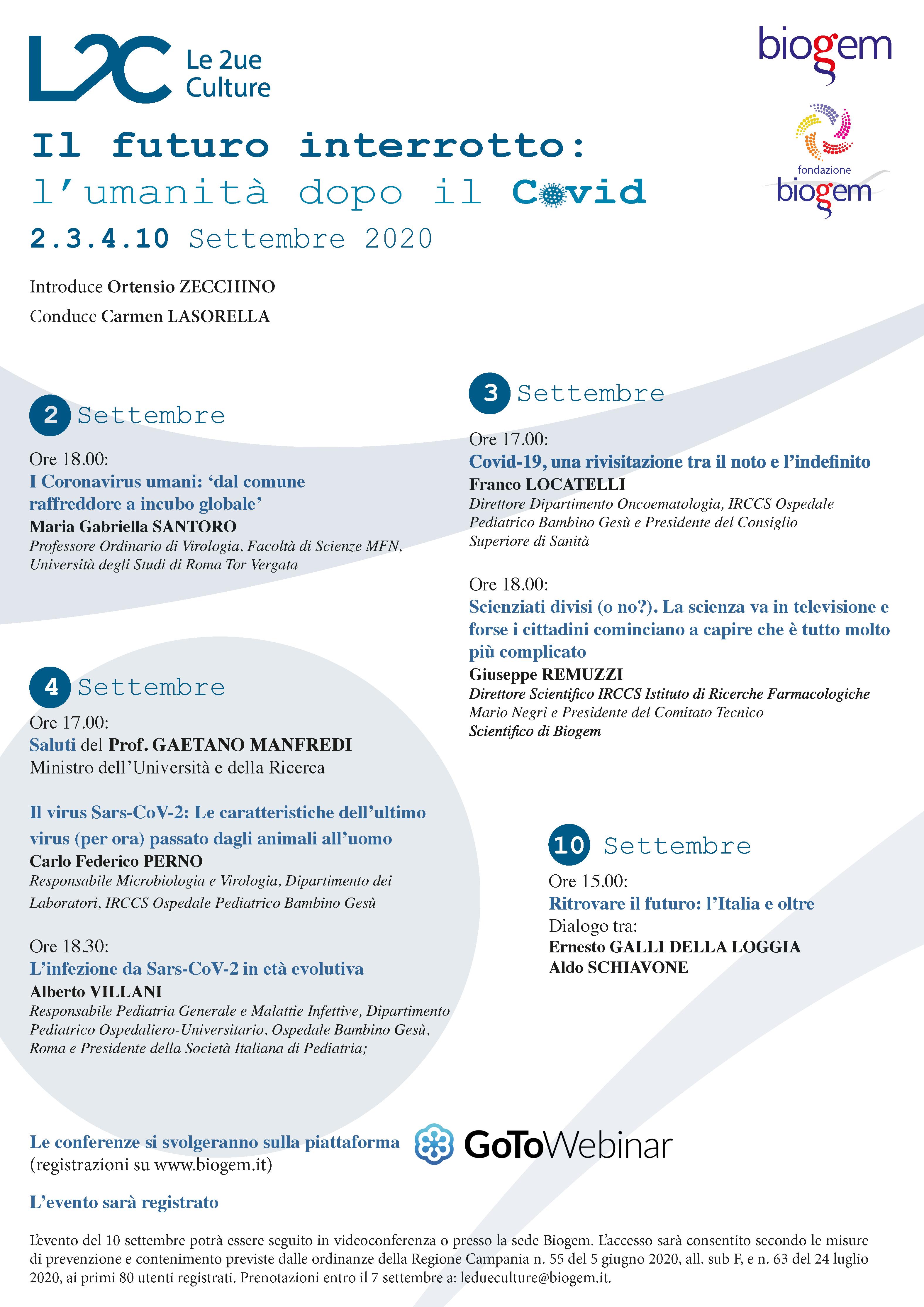 """programma conferenza """"Umanità dopo il covo"""""""