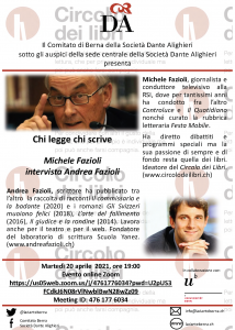"""volantino """"Fazioli intervista Fazioli"""" - 20.04.21 + link al pdf"""